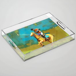 poloplayer abstract turquoise ochre Acrylic Tray
