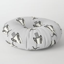 Mr. Badger illustration character cute badgers animal top hat mustache woodland Floor Pillow