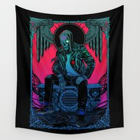 sneakers Wall Tapestries featuring The Ghost of Dead Motor City by Lokhaan