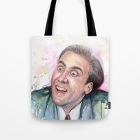 nicolas cage Tote Bags featuring Nicolas Cage You Don't Say by Olechka