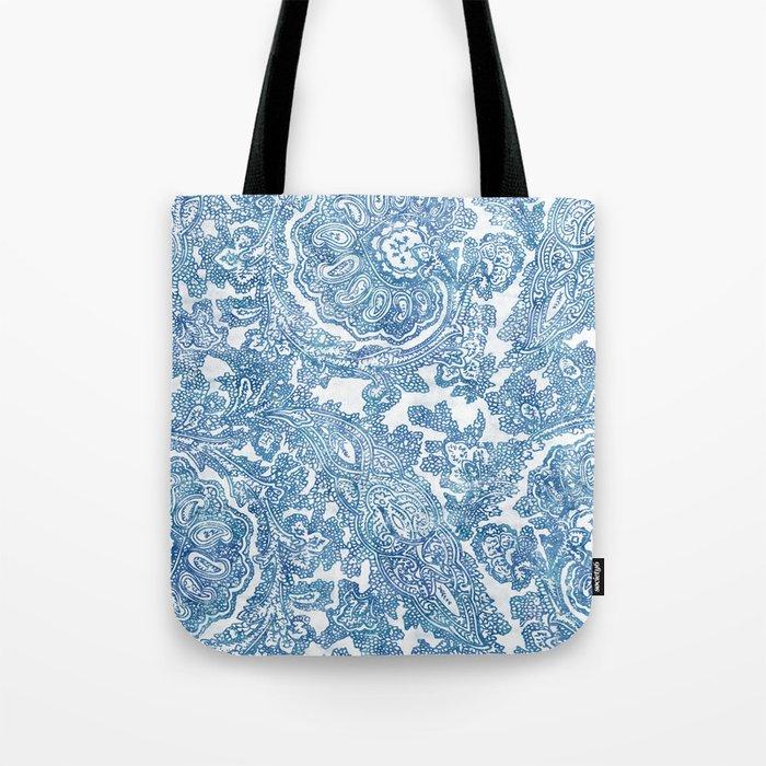 Blue Boho Paisley Pattern II Tote Bag