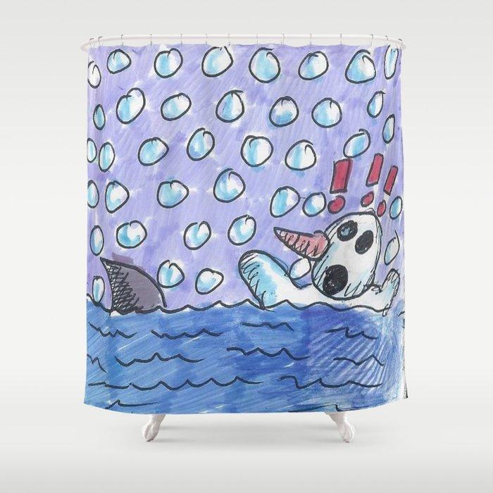 Christmas #3 Snow Shark Attack Shower Curtain