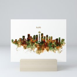 Seattle Watercolor Skyline Poster Mini Art Print
