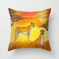 tigers Throw Pillows featuring Tigers Sun by ArtSchool