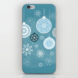 christmas balls with snowflakes on the blue iPhone Skin