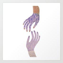 Reach Out,vintage pink floral hands illustration Art Print