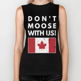 Don't Moose With Us Canada Funny Canadian Flag Biker Tank