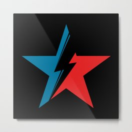 Bowie Star black Metal Print