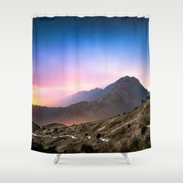 Fantasy mountainscape at night with starry sky in Hong Kong Shower Curtain