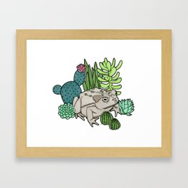Toad with Succulents Framed Art Print