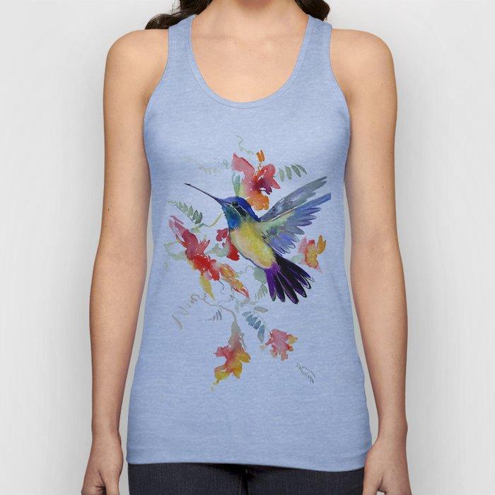 Hummingbird, floral bird art, soft colors Unisex Tank Top