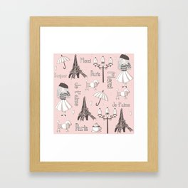 Paris Girl - Pink Framed Art Print