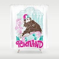 sasquatch Shower Curtains featuring Portland Sasquatch  by tim weakland
