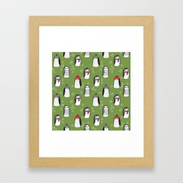 Christmas penguin cute animal pattern winter holiday gifts Framed Art Print