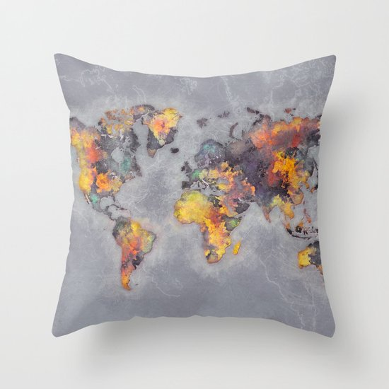 Throw Pillows With World Map : world map 111 #worldmap #world #map Throw Pillow by Jbjart Society6