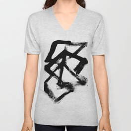 Brushstroke 5 - a simple black and white ink design Unisex V-Neck