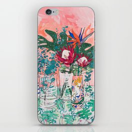 Cockatoo Vase - Bouquet of Flowers on Coral and Jungle iPhone Skin