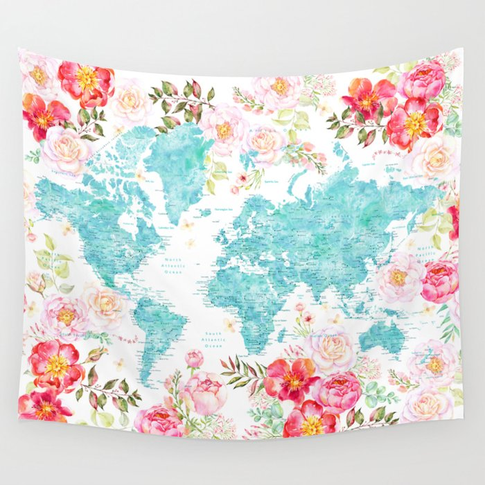 Floral watercolor world map in aquamarine blue Wall Tapestry