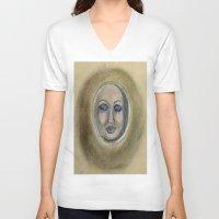 sleep V-neck T-shirts featuring Sleep by Jen Hallbrown