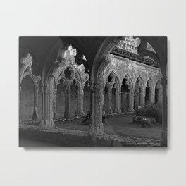Gothic Cloister of Saint-Pierre, La Romieu, France black and white photograph / art photography Metal Print