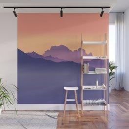 Misty Mountains Orange Sunset  Wall Mural