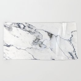 White Marble I Beach Towel