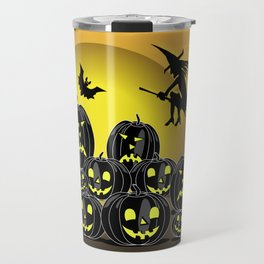 Pumpkins and witch in front of a full moon Travel Mug