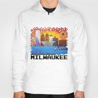 milwaukee Hoodies featuring 8 Bit Milwaukee by Amanda Iglinski