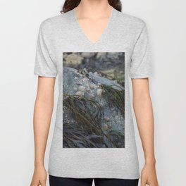 Natural Blue Rock with Limpets and Seaweed Unisex V-Neck