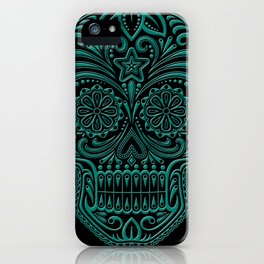 Intricate Teal Blue and Black Day of the Dead Sugar Skull iPhone Case