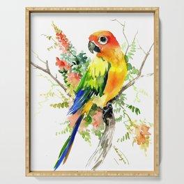 Sun Conure Parakeet, tropical colors parrot art design Serving Tray
