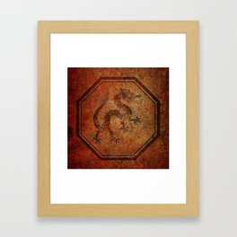 Distressed Chinese Dragon In Octagon Frame Framed Art Print