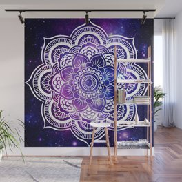 Mandala purple blue galaxy space Wall Mural