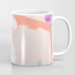 """""""passions 2"""" abstract art in navy, blush, teal, white, and yellow Coffee Mug"""