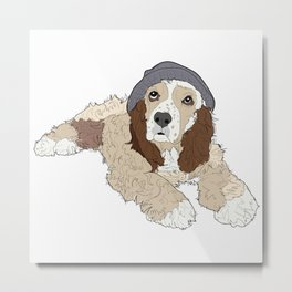 Cocker Spaniel Hipster Dog Metal Print