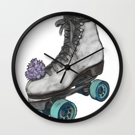 Roller Skate on White Wall Clock