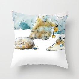 Polar Tea Party Throw Pillow