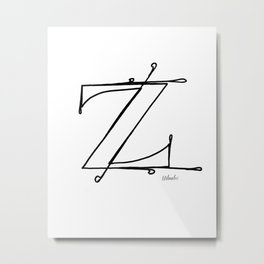 Z- Letter Collection White Metal Print