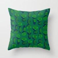 kodama Throw Pillows featuring Kodama  by pkarnold + The Cult Print Shop