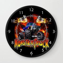 Monster Truck blue on Fire                                          Wall Clock