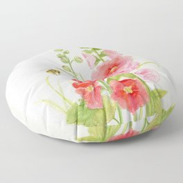 Watercolor Flower Pink Hollyhock and Bee Floor Pillow