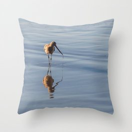Sandpiper on Shore Photography, Sea Bird Photography, Coastal California Art, Stinson Beach Home Decor Throw Pillow