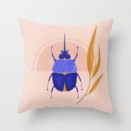 Botanical beetle sunrise Throw Pillow