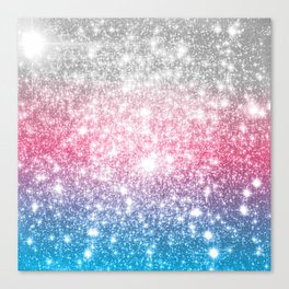 Galaxy Sparkle Stars Cotton Candy Canvas Print