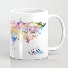 world map landmarks collage Mug