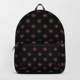 Coral Pink on Black Snowflakes Backpack