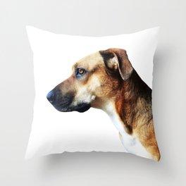 Pupper Watching Squirrels Throw Pillow