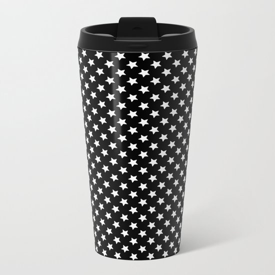 White Stars on Black Metal Travel Mug