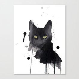 Black cat watercolor Canvas Print