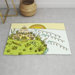 teepee living simply in paradise // retro surf art by surfy birdy Rug